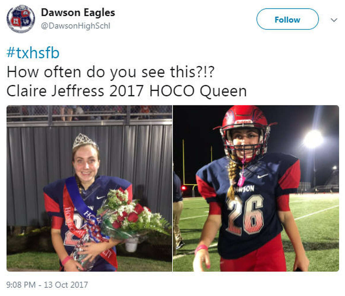 Claire Jeffress is the kicker for Class 6A varsity football team for Dawson High School in Pearland and on Friday, Oct. 13, she was named the homecoming queen.Source: Twitter