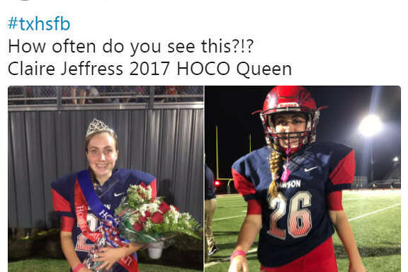 Claire Jeffress is the kicker for Class 6A varsity football team for Dawson High School in Pearland and on Friday, Oct. 13, she was named the homecoming queen. Source:  Twitter