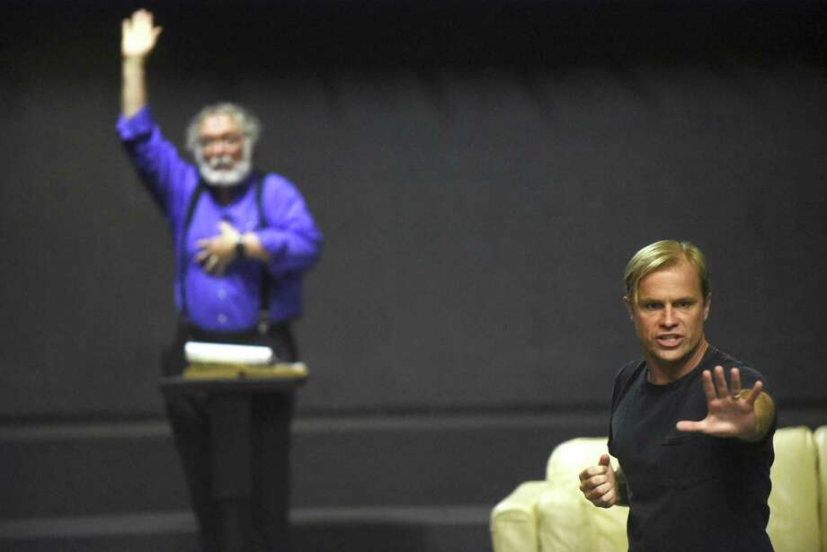 """John Stillwaggon, right, playing the part of God, makes a point during a rehearsal of the Sheldon Vexler Theater production of """"An Act of God."""" Michael Howard (left) plays the angel Gabriel. Photo: Billy Calzada /San Antonio Express-News / San Antonio Express-News"""