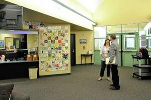 Katy ISD COO Lee Crews and Principal Mona Cardin discuss renovations needed at Katy ISD's Fielder Elementary School in Katy on Oct. 11.