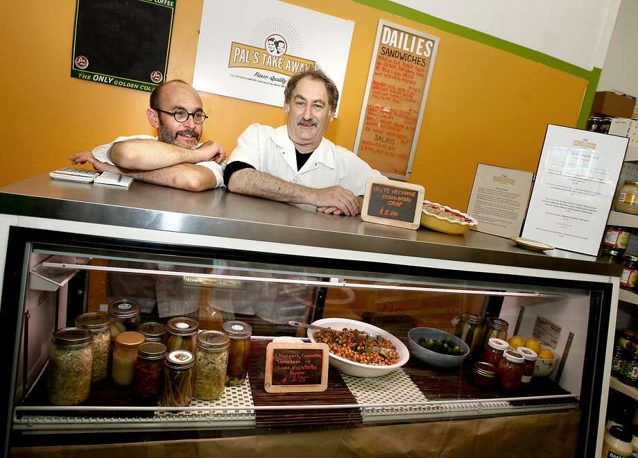 Jeff Mason (right) and David Knopp behind the counter of Pal's Takeaway in 2009 when it was inside Tony's Market on 24th Street near Potrero. Photo: Brant Ward, The Chronicle