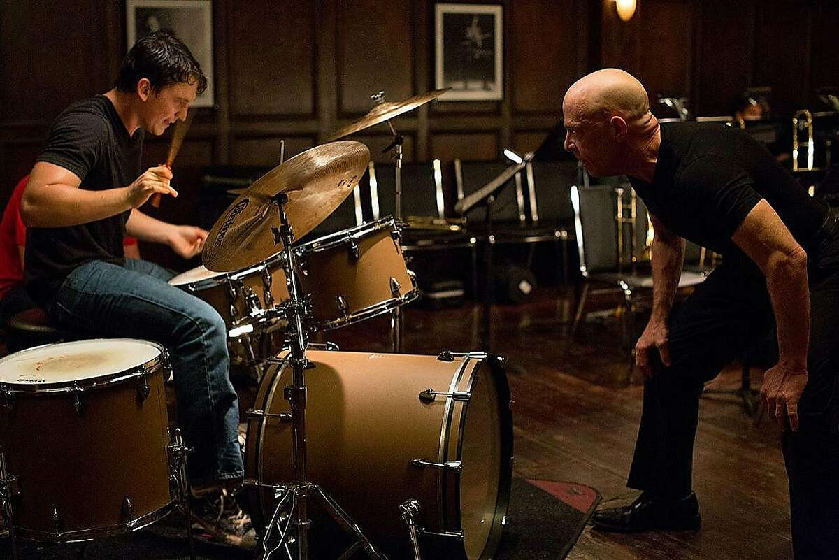 """Miles Teller portrays a music prodigy brutally mentored by an instructor played by J.K. Simmons in """"Whiplash."""""""