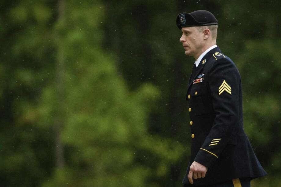 Sgt. Bowe Bergdahl returns to the Fort Bragg courthouse after a lunch break on Monday, Oct. 16, 2017, on Fort Bragg, N.C. Bergdahl, who walked off his base in Afghanistan in 2009 and was held by the Taliban for five years, is charged with desertion and misbehavior before the enemy. (Andrew Craft/The Fayetteville Observer via AP) Photo: Andrew Craft, MBI / Associated Press / Andrew Craft