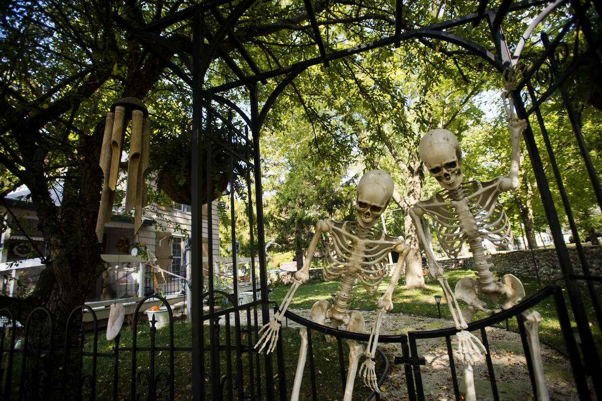 Two skeletons adorn the front gate at Rich and Karen Marshall's home on Ashman Street. (Katy Kildee/kkildee@mdn.net)