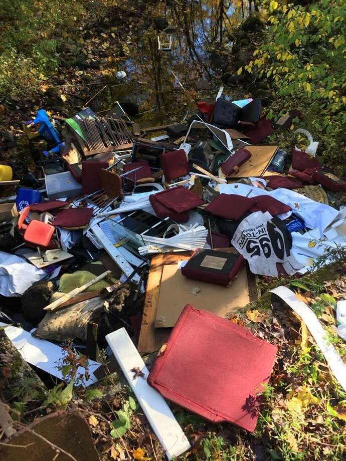 Photo of the illegal dumping last week on George Hull Hill Road in Redding. Photo: Contributed Photo / Facebook