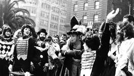 Mime Robert Shields and Lorene Yarnell get married in front of a large crowd at Union Square ,October 27, 1972 Scott Beach would perform the ceremony photo ran 10/28/1972, p. 2