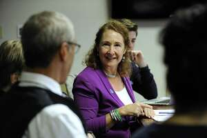 Congresswoman Elizabeth Esty participates in an LGBTQ+ roundtable discussion at Western Connecticut State University Monday, Oct. 16, 2017.