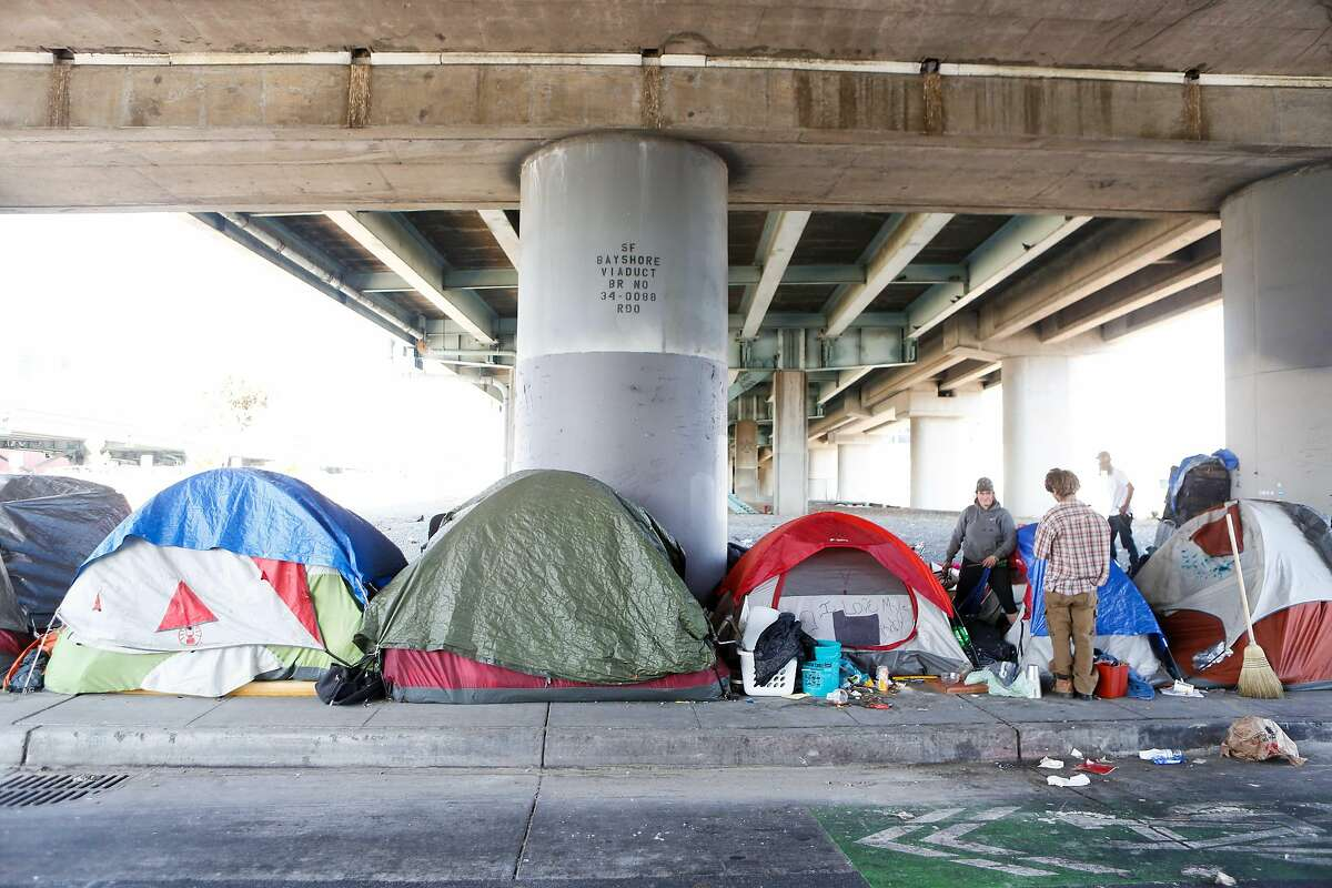 A tent encampment on Fifth Street on October 15, 2017 in San Francisco, Calif.