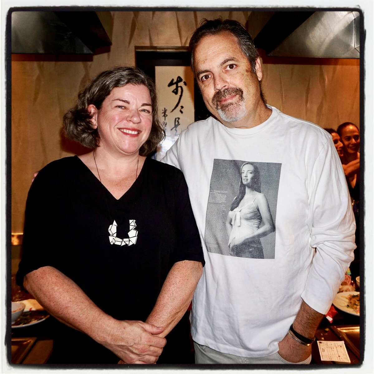 Artist Annie Galvin and Dave Pell at Benihana following their wildfire relief online fundraiser. Oct. 13, 2017.