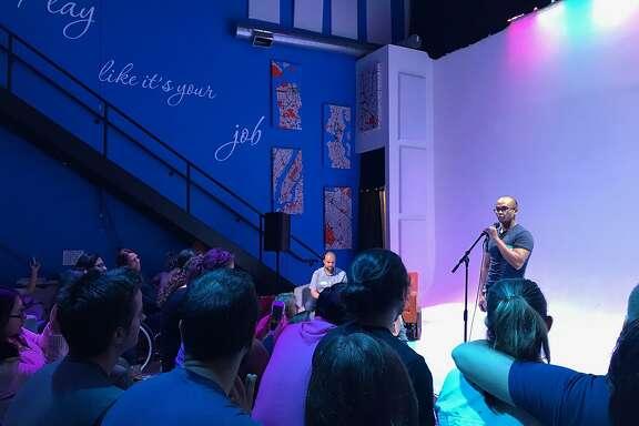 Contestant Jon Kotker at the Bay Area Pun-Off.