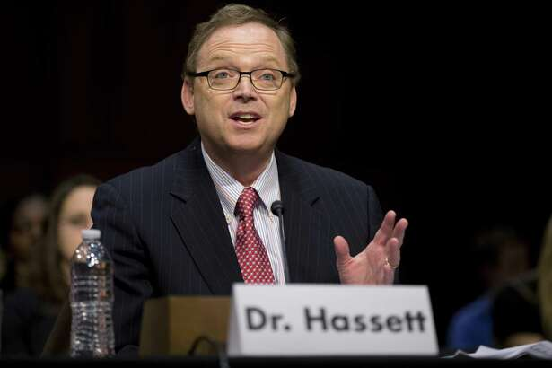 File photo of Kevin Hassett, chairman of the Council of Economic Advisors. Hassett says the Trump tax plan will increase net income for the average household, which brought home $83,143 last year, by $4,000 to $9,000 a year from reducing business tax rates alone (families that earn less will see a smaller increase).