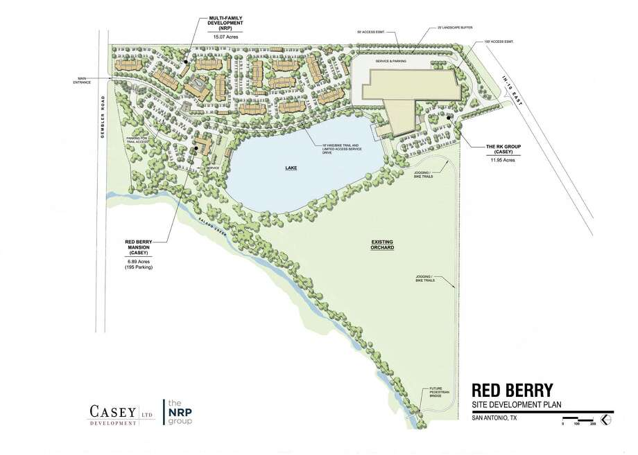 The City Council-approved Red Berry site development plan shows location of planned apartments and a new commercial building. Photo: City Of San Antonio /
