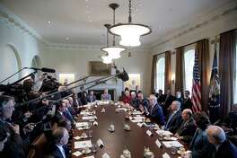 President Donald Trump and his cabinet on March 13. In this group, a liberated Sen. Bob Corker — liberated because he isn't running for reelection — say three in particular have taken on the role of presidential minders. They are Secretary of State Rex Tillerson, Defense Secretary Jim Mattis, and former Homeland Secretary, now Chief of Staff, John Kelly.