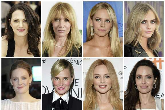 This combination photo shows actresses listed in alphabetical order, top row from left, Asia Argento, Rosanna Arquette, Jessica Barth, Cara Delevingne, Romola Garai, Judith Godreche, Heather Graham, Angelina Jolie, Ashley Judd, Rose McGowan, Lea Seydoux and Mira Sorvino, who have made allegations against producer Harvey Weinstein.