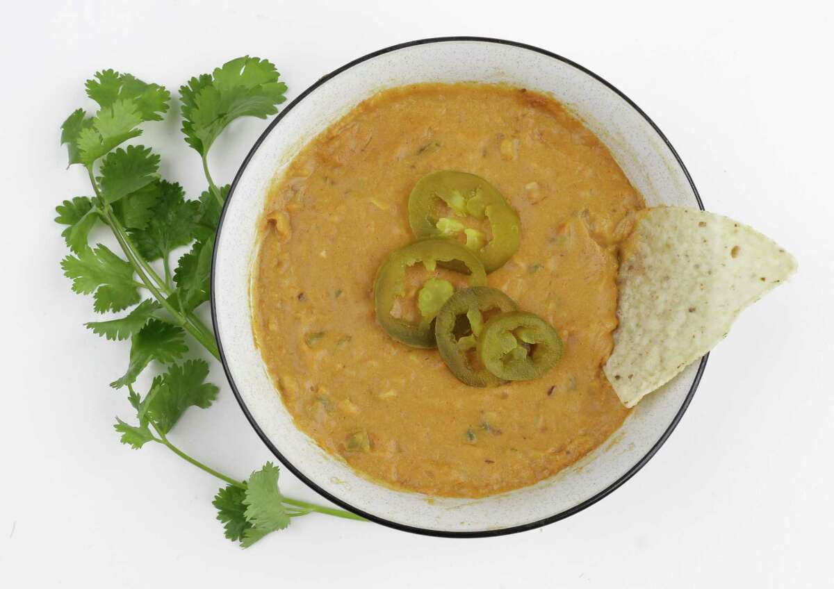 10 Minute Vegan Queso can be puréed for a creamier texture.