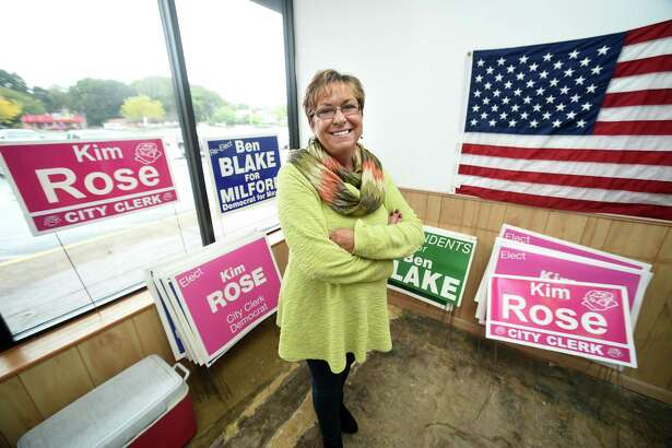 State Rep. Kim Rose is photographed in Democratic headquarters in Milford Plaza. She is running for City Clerk.