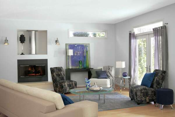 A living room painted in Sherwin-Williams' most popular paint color, Gray Screen.