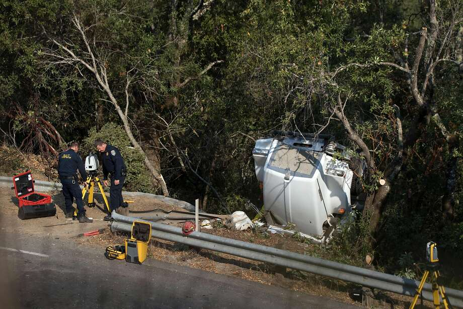 A water tanker truck to support fire crews overturned, killing the driver on Oakville Grade near Highway 29 on Monday, Oct. 16, 2017 in Oakville, CA. Photo: Paul Kuroda, Special To The Chronicle