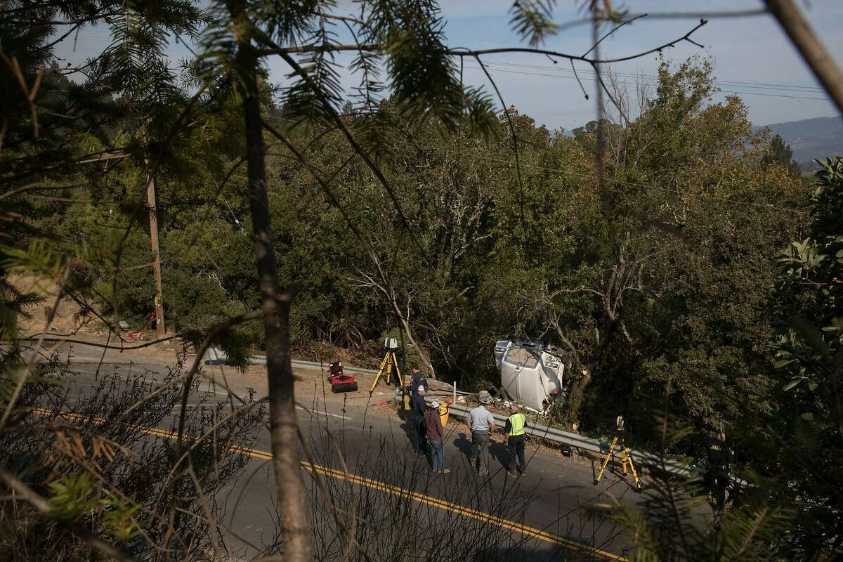 A water tanker truck to support fire crews overturned, killing the driver on Oakville Grade near Highway 29 on Monday, Oct. 16, 2017 in Oakville, CA.