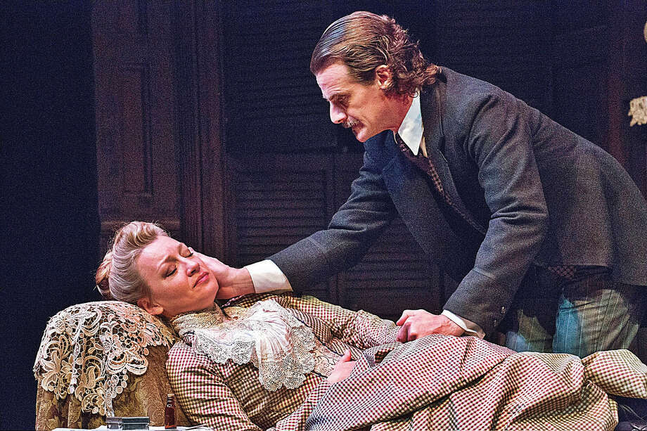 "Kim Stauffer (Mrs. Manningham) and Mark H. Dold (Mr. Manningham) star in ""Gaslight"" at Barrington Stage. Directed by Louisa Proske, performances are through Oct. 22. PHOTO PROVIDED BY SCOTT BARROW/BARRINGTON STAGE COMPANY / © 2017 Scott Barrow.  www.scottbarrow.com. 800-797-3397"