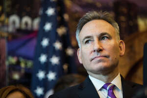 King County Executive Dow Constantine seen in a press conference announcing a community benefits package as a part of the Washington State Convention Center renovation, at Seattle City Hall on Monday, Oct. 16 2017.