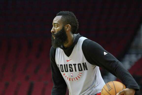 Houston Rockets' James Harden dribbles during the practice game at the fan fest at Toyota Center Saturday, Oct. 7, 2017, in Houston. ( Yi-Chin Lee / Houston Chronicle )
