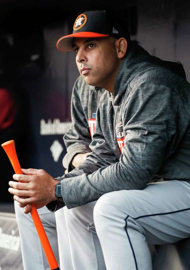 Houston Astros bench coach Alex Cora sits in the dugout before Game 3 of the ALCS against the New York Yankees at Yankee Stadium on Monday, Oct. 16, 2017, in New York. Photo: Karen Warren, Houston Chronicle / © 2017 Houston Chronicle