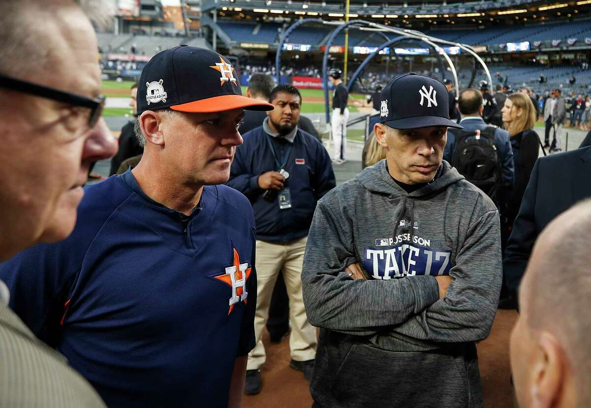 Joe Girardi (right) saw his stint as Yankees manager end after the seven-game loss to the Astros in the 2017 ALCS. He's back in Houston as an analyst for FS1 for Games 1 and 2 of the Division Series against Tampa Bay.