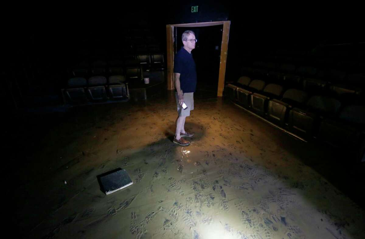 Dean Gladden, managing director of the Alley Theatre, 510 Texas Ave., stands in the flood damaged Neuhaus theater Friday, Sept. 1, 2017, in Houston. The Alley Theatre suffered the worst damage by far of all Houston Theater District arts organizations, with its Neuhaus theater, basement prop shop and all electronic systems destroyed due to flooding in the aftermath of Hurricane Harvey. ( Melissa Phillip / Houston Chronicle )