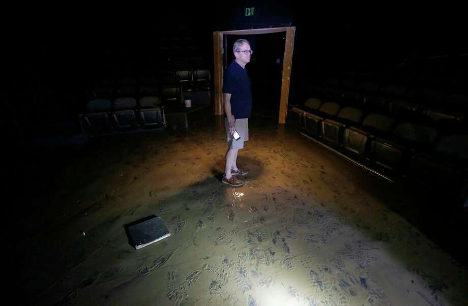 Dean Gladden, managing director of the Alley Theatre, 510 Texas Ave., stands in the flood damaged Neuhaus theater  Friday, Sept. 1, 2017, in Houston. The Alley Theatre suffered the worst damage by far of all Houston Theater District arts organizations, with its Neuhaus theater, basement prop shop and all electronic systems destroyed due to flooding in the aftermath of Hurricane Harvey.  ( Melissa Phillip / Houston Chronicle ) Photo: Melissa Phillip, Staff / © 2017 Houston Chronicle