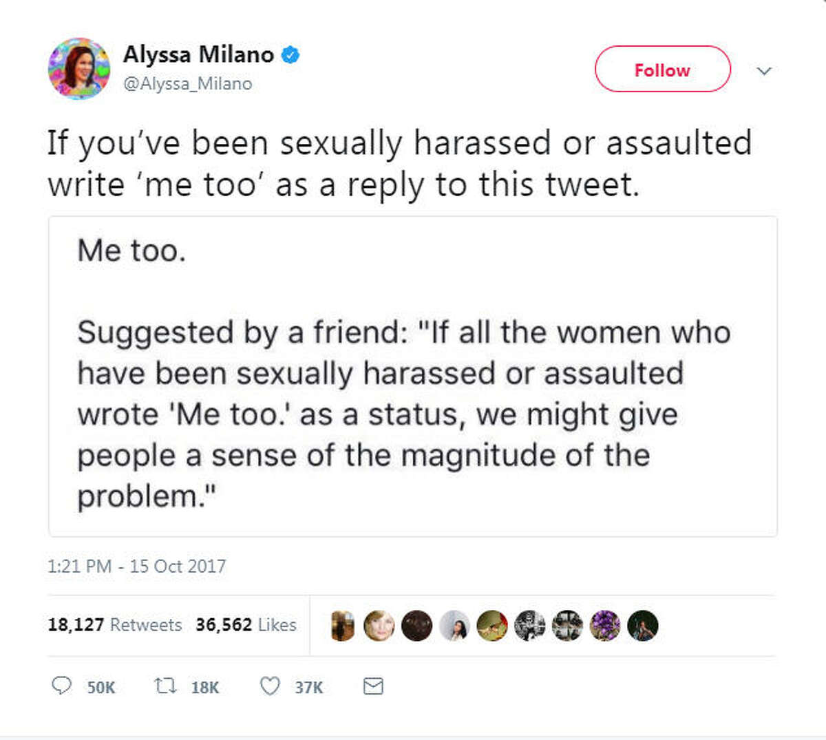 via Twitter >> See the some of the tweets celebrities and people have shared since Milano's call to action using #MeToo...