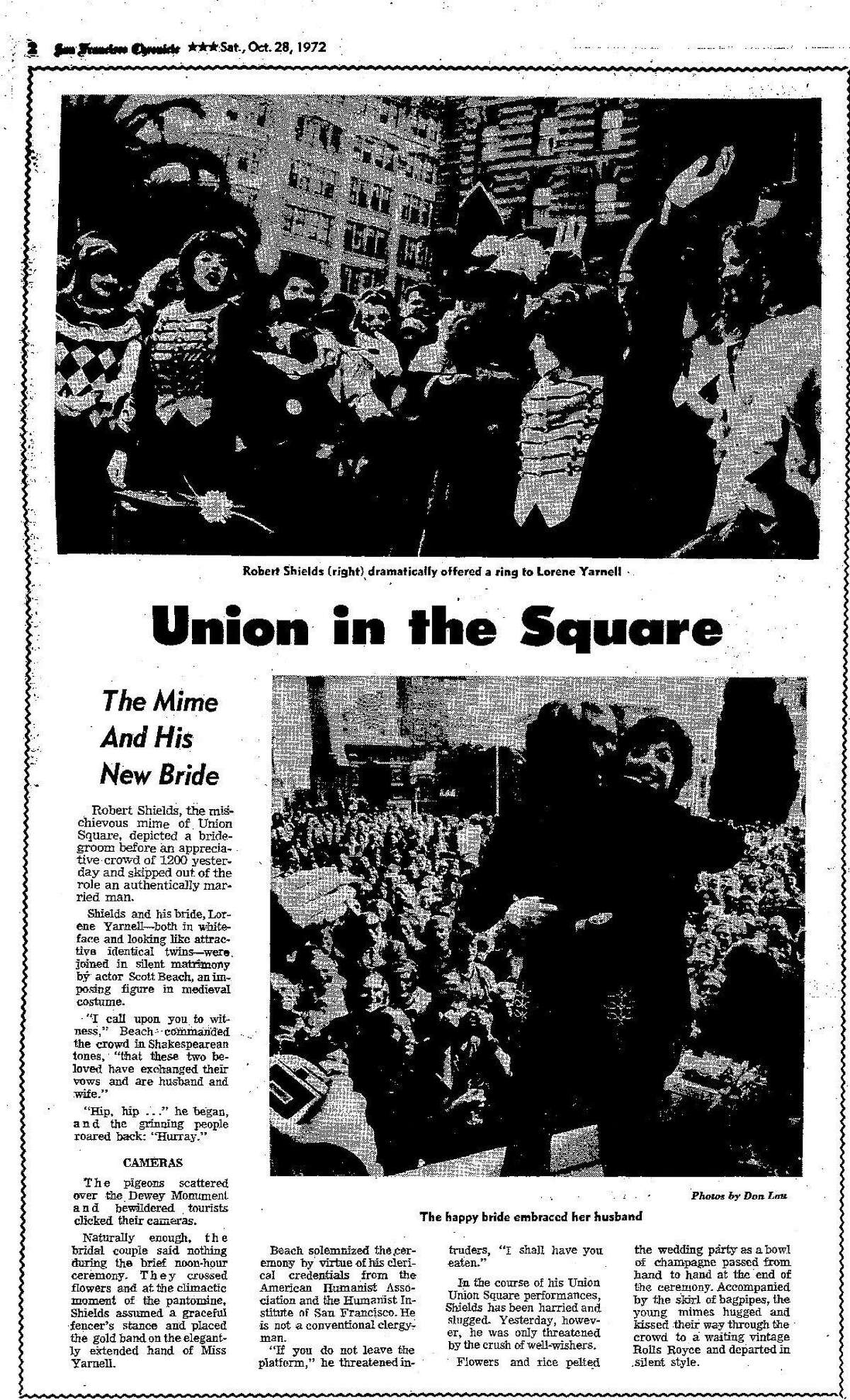 Oct. 28, 1972 Chronicle article on Robert Shields, right, and Lorene Yarnell marrying in Union Square.