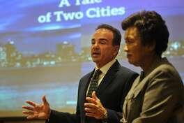 Bridgeport Mayor Joe Ganim and New Haven Mayor Toni Harp announce their Amazon application on Monday.