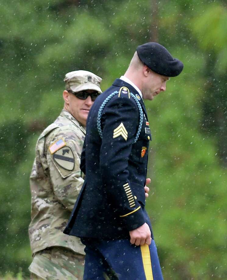 Army Sgt. Bowe Bergdahl leaves the courthouse at Fort Bragg, N.C., where he pleaded guilty to desertion and misbehavior before the enemy. Photo: Sara D. Davis /Getty Images / 2017 Getty Images