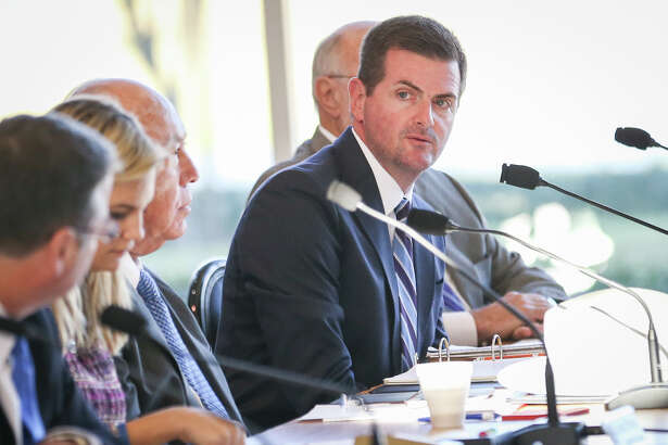 State Sen. Brandon Creighton speaks during the Texas Senate Committee on Agriculture, Water, and Rural Affairs interim hearing on Monday at the East Montgomery County Improvement District in New Caney.