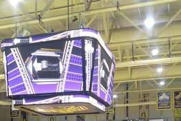 Ed Swyer, president of Stuyvesant Plaza, donated $1 million for upgrades to the University at Albany's SEFCU Arena, most notably a new scoreboard that hangs over center court. (Pete Dougherty / Times Union)
