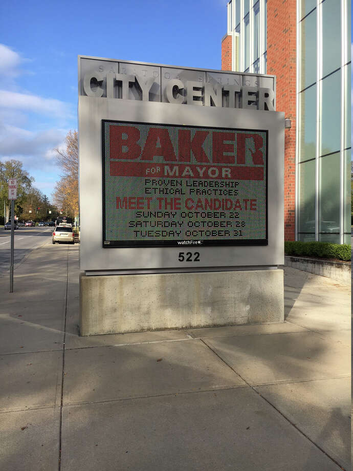 Mark Baker for mayor event announcement on Saratoga City Center message sign, Oct. 15, 2017 ORG XMIT: MER2017101517193023