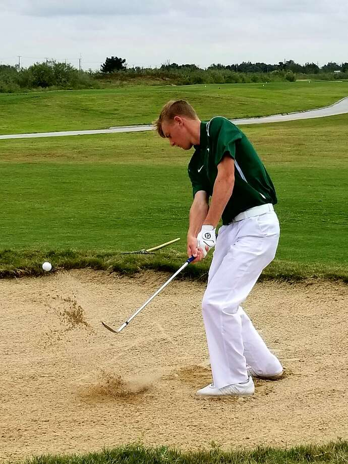 Midland College's Callum Bruce hits a bunker shot during the first round of the NJCAA Division I National Previews Tournament at The Rawls Course in Lubbock on Monday. Courtesy photo