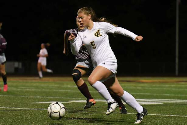 Girls High School soccer action between the Jonathan Law Lawmen and the North Haven Indians played at Jonathan Law High School on Monday October 16, 2017 in Milford, Connecticut.