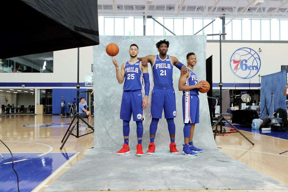 CAMDEN, NJ - SEPTEMBER 25: Ben Simmons #25, Joel Embiid #21 and Markelle Fultz #20 of the Philadelphia 76ers pose for the camera during the Philadelphia 76ers Media Day on September 25, 2017 at the Philadelphia 76ers Training Complex in Camden, New Jersey.NOTE TO USER: User expressly acknowledges and agrees that, by downloading and/or using this photograph, user is consenting to the terms and conditions of the Getty Images License Agreement.  (Photo by Abbie Parr/Getty Images) ORG XMIT: 775042802 Photo: Abbie Parr / 2017 Getty Images