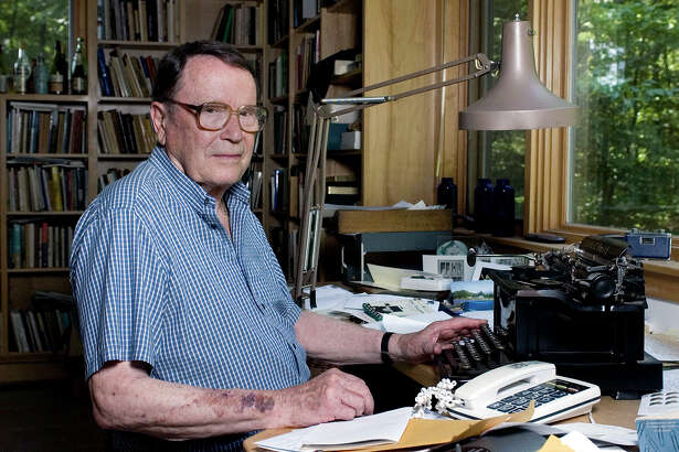 FILE- In this July 18, 2006, file photo, poet Richard Wilbur poses for a photo at his home in Cummington, Mass. Wilbur, the Pulitzer Prize-winning poet and translator who intrigued and delighted generations of readers and theatergoers through his rhyming editions of Moliere and his own verse on memory, writing and nature, died. He was 96. Wilbur died Saturday, Oct. 14, 2017, night in Belmont, Mass., with his family by his side, according to friend and fellow poet, Dana Gioia. (AP Photo/Nancy Palmieri, File) ORG XMIT: NYJK103
