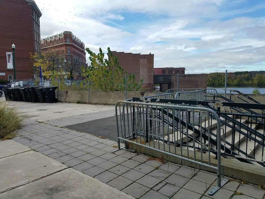 A plan for movie theaters at One Monument Square in downtown Troy failed after lawsuits from a neigboring property owner scuttled the project. The site is the former home of City Hall, which was demolished in 2011. (Chris Churchill / Times Union)