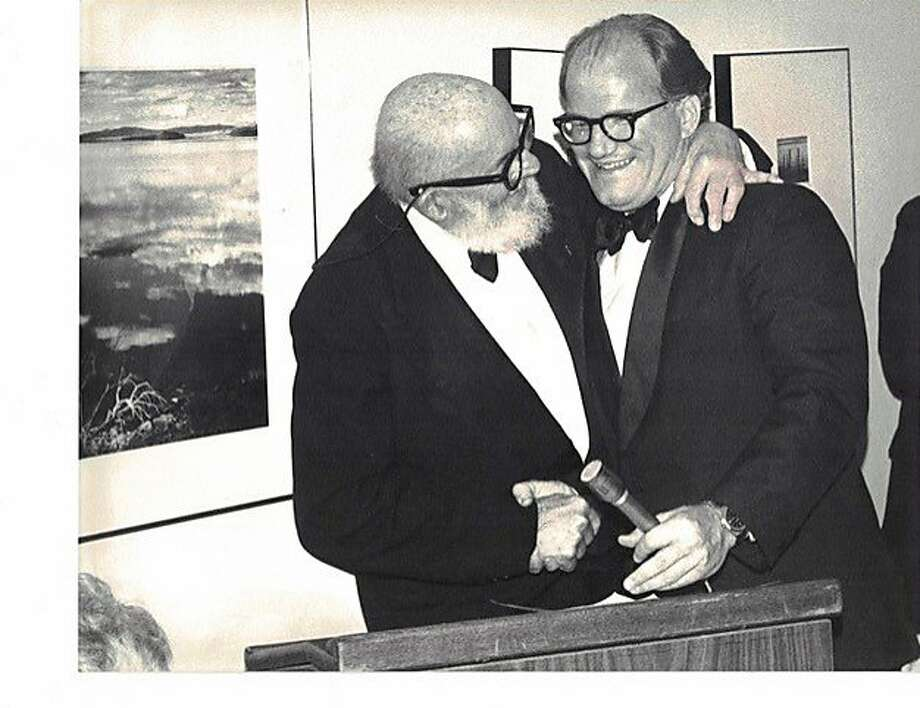 Bill Turnage (right) gives Ansel Adams the Wilderness Society's Conservation Award in 1980. Photo: Photo Courtesy Robert Turnage