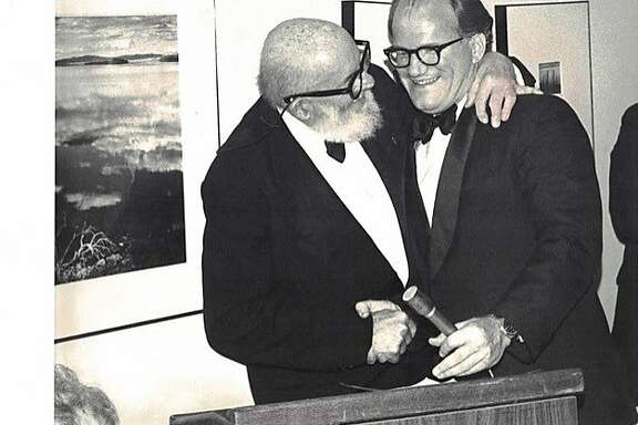 William A. Turnage (right) presents Wilderness Society�s Conservation Award to Ansel Adams in 1980.