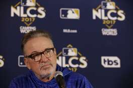 Chicago Cubs manager Joe Maddon talks at a news conference, Monday, Oct. 16, 2017, in Chicago. The Chicago Cubs will play Game 3 of baseball's National League Championship Series against the Los Angeles Dodgers on Tuesday. (AP Photo/Nam Y. Huh)