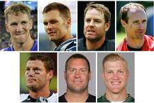 FILE - These are file photos show NFL football quarterbacks, from top left, Eli Manning, Tom Brady, Carson Palmer, Drew Brees, bottom from left, Philip Rivers, Ben Roethlisberger and Josh McCown. For first time ever, there are seven quarterbacks older than 35 starting this season, and collectively they're off to an awful start with seven wins and 14 losses. Take away Brady and Roethlisberger and the rest are 3-12. (AP Photo/File) ORG XMIT: NY156