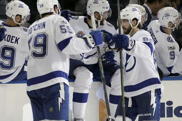 Tampa Bay Lightning right wing Nikita Kucherov (86), of Russia, celebrates his goal St. Louis Blues during the third period of an NHL hockey game Saturday, Oct. 14, 2017, in Tampa, Fla. (AP Photo/Chris O'Meara)