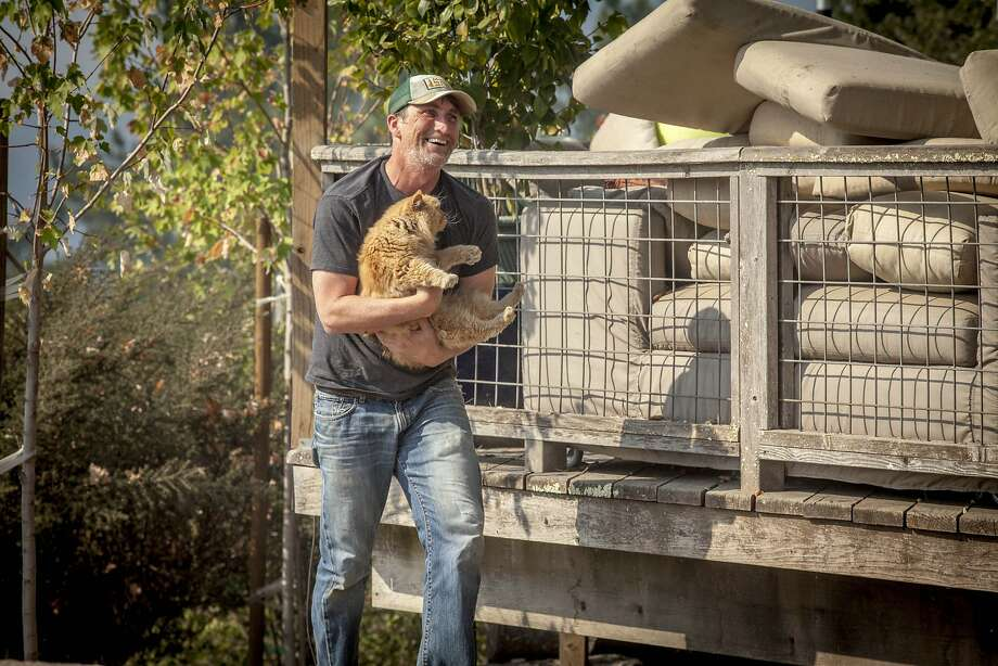 Drew Olin, retrieves his parents cat Golden who was left behind when they first evacuated from their home along Lovall Valley Rd. east of Sonoma on Oct. 14, 2017. Photo: Peter DaSilva, Special To The Chronicle