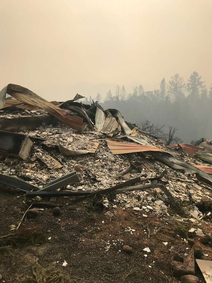 The cabins at Mayacamas Ranch, left, were reduced to ashes in the Wine Country wildfires, right. Photo: Courtesy Dave Levy