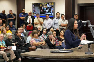 Annette Ugalde-Bonugli at city council meeting, Monday, October 16, 2017, at City Hall.